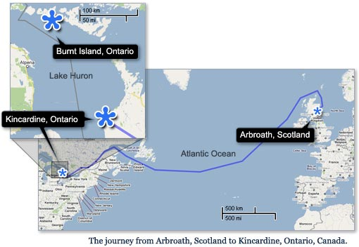 Map: The Purvis journey from Arbroath Scotland to Kincardine, Canada.